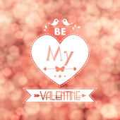 Vector Valentine card blurred flickering lights background — Stock Vector