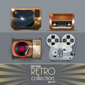 Vector detalied Retro electronics set — Stock Vector