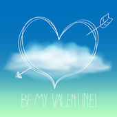 Vector cute valentines day background with cloud — Stock Vector