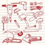 Vector hand-drawn working tools set — Stock Vector