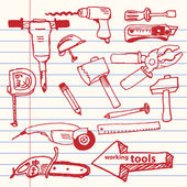 Vector hand-drawn working tools set — Stockvektor