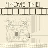 Vector Retro movie poster with Vintage Movie Projector — Wektor stockowy