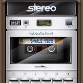 Vector retro Stereo Radio Cassette Recorder close-up — Stockvector