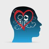 Mänskliga huvudet med hand dras man och kvinnor i kärlek, koncept — Stockvektor