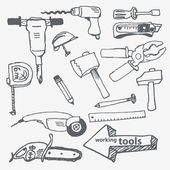 Vector hand-drawn working tools set — Stock Vector