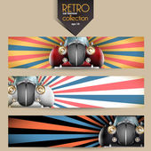 Vector retro car banner set — Stock Vector
