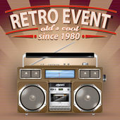 Retro Party Brochure with Vintage Stereo Radio Cassette Recorder — Stock Vector
