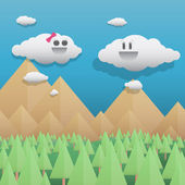 Cute clouds on mountain pine forest landscape — Vector de stock