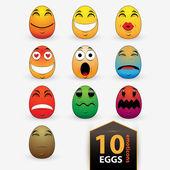 Set di illustrazione di emoticon uovo vettoriale — Vettoriale Stock