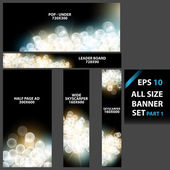 Vector blurred lights, banner set with various sizes — Stock Vector