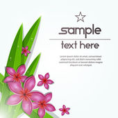 Vector fresh tropical flower with leafs background — Stock vektor