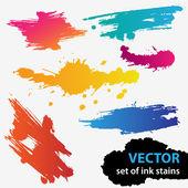 красочный набор векторный гранж текстуры фона пятна — Cтоковый вектор