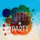 Vector abstract splattered summer party background — Stock Vector