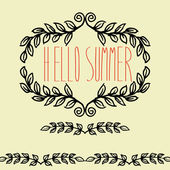 Vector vintage hand drawn hello summer cute, leafs frame — Stock Vector