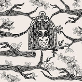 Vector vintage hand drawn oak forrest scene with cute owl — 图库矢量图片