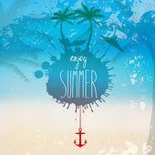 Vektor grunge sommaren beach illustration med hängmatta och palm tr — Stockvektor