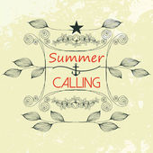 Vector hand drawn nature background, summer calling — Stockvector