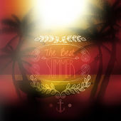 Vector the best summer message, on tropical background — Stock Vector
