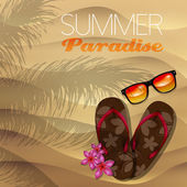 Vector summer illustration with flip flop and sunglasses — Stock Vector