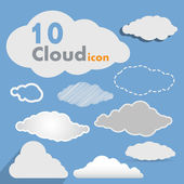 Vector various collection of clouds — Stock Vector
