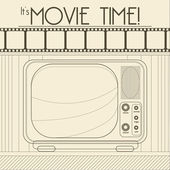 Vector Retro movie poster with Vintage Television — Stock Vector