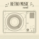 Vector Retro music event poster with Vintage Vinyl Player — Stock Vector