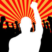 Vector Riot People protesting while rise up his fists — Stock Vector