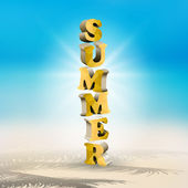 Vector yellow summer text on blurred beach background — Stock Vector