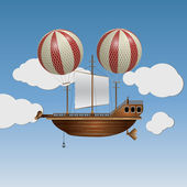 Vector flying wooden old ship in the sky — Vettoriale Stock