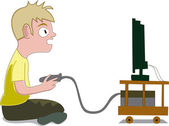 Boy playing video games — Stock Vector