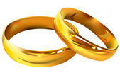 Couple of gold wedding rings — Stock Vector