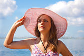 Portrait of the girl in hat — Stock Photo