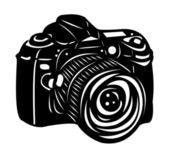 Black digital camera — Stock Vector