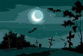 Night scene at cemetery — Stock Vector