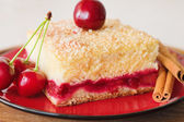 Slice of cherry pie on a plate — Stockfoto