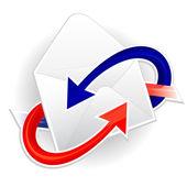 着信および発信メールのシンボル — ストックベクタ