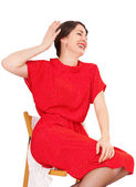 Pretty woman laughs merrily — Stock Photo