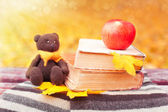 Bear, apple and books on a bench — Stockfoto