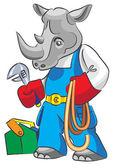 Rhinoceros is the plumber — Stock Vector