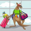 Kangaroo travels with a family — Stock Vector