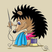 The hedgehog is a tailor — 图库矢量图片