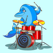 The dolphin is the jazz the drummer — Stock Vector