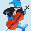 Dolphin and violoncello — Stock Vector