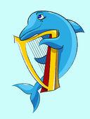 Dolphin - harpist — Stock Vector