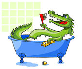 Crocodile in a bathtub — Stock Vector