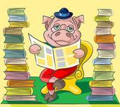Bibliophile - pig — Stock Vector