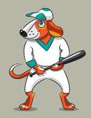 Pes baseballový hráč — Stock vektor