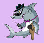 Shark the gangster — Stock Vector