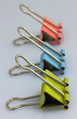 Three color clips for papers — Stockfoto