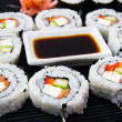 Sushi set with soy sauce — Stock Photo